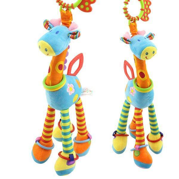 Baby Development Soft Plush  Animal Giraffe Handle Toy Baby Trolley Baby Crib Hanging Teether Toy