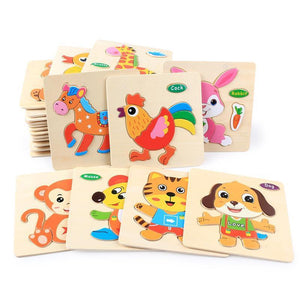 Wooden Puzzle Educational Developmental Baby Kids Training Toy
