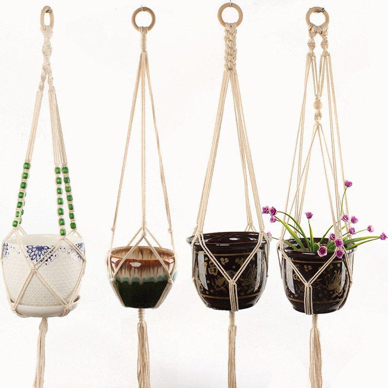 Macrame Plant Hangers Indoor Outdoor Hanging Planter Basket Cotton Rope with Beads 4 Legs