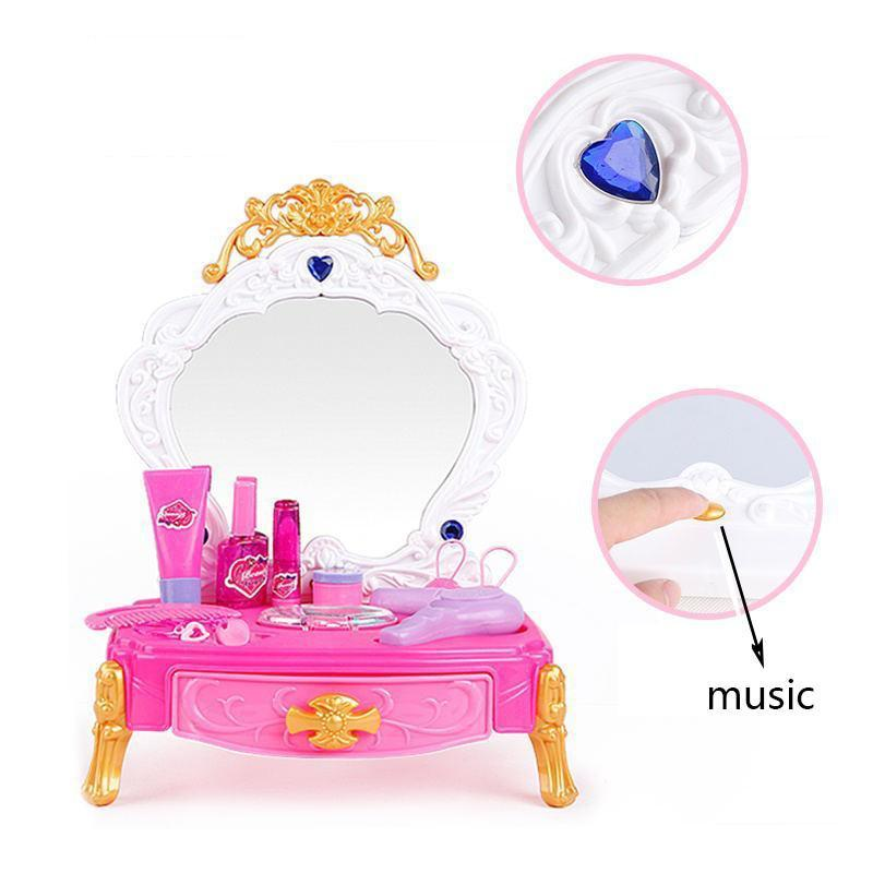 Dressing Table Pretend Play Case Toys Girls Fashion Beauty Salon Cosmetic Girls