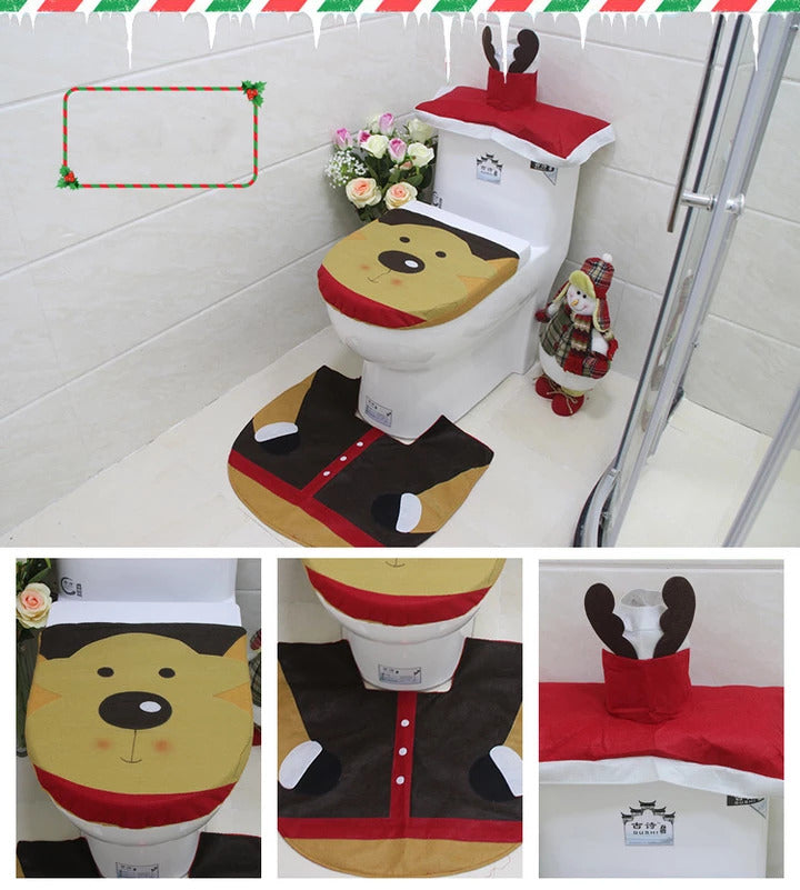 3 in1 Christmas Decorations Happy Santa Toilet Seat Cover and Rug Bathroom Set