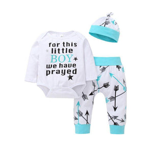 3Pcs Newborn Infant Baby Boys Romper Bodysuit Long Pants Hat Outfits Clothes Set