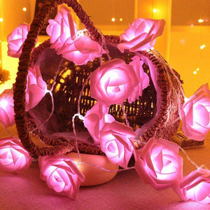 20 LED 2.5M Rose Flower Fairy String Lights Cable Battery Powered Wedding Home Decoration