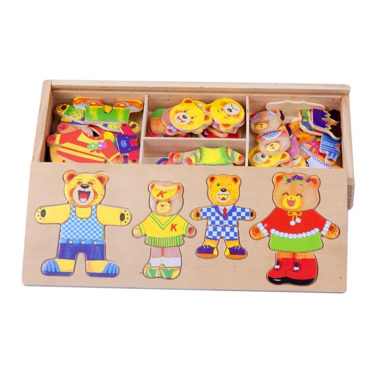 Wooden Baby Bear Children Change the Clothes Boy Baby Puzzle Jigsaw Puzzle Building Block