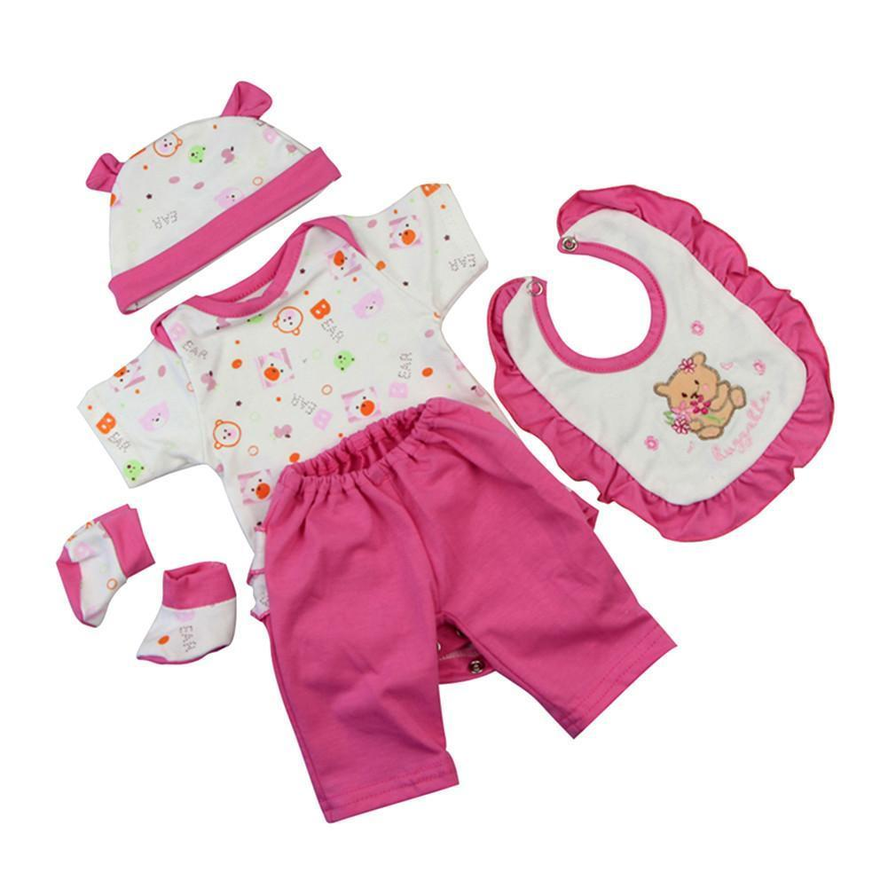 Reborn Born Doll Accessories Pink Printed Pajamas Clothes Fit 42-45 Cm Baby Born Doll 5 Pcs Sets Doll Cloth
