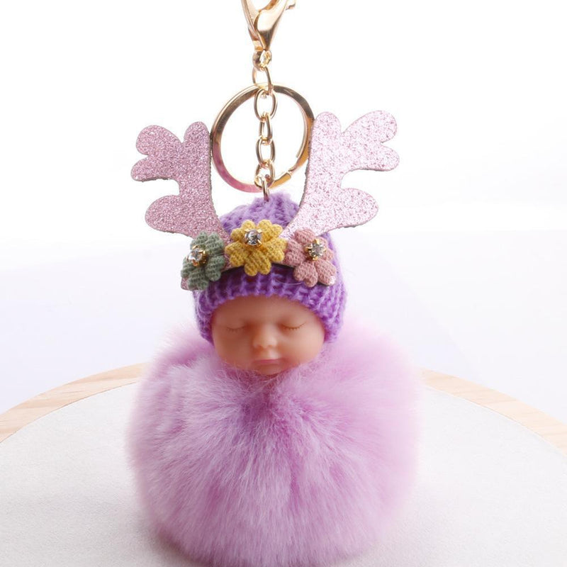 Fluffy Ball Key Chains Antlers Flowers Water Drill Fluffy Ball Pendants Bags Accessories