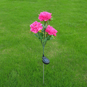 3 Heads Solar Powered Peony Flower LED Outdoor Garden Light Decoration Lamp Lawn Induction Light