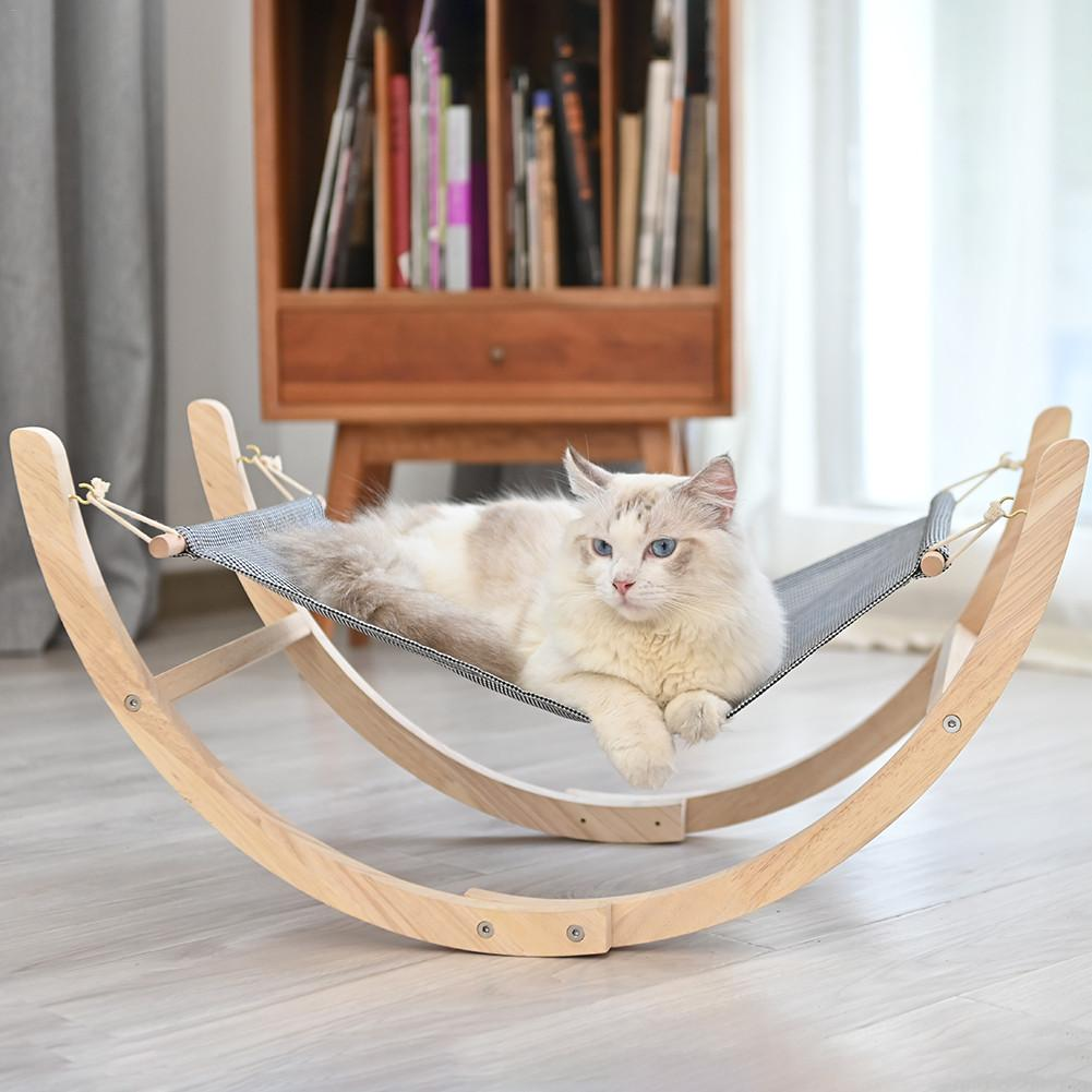 Pet Cat Rocking Chair Bed Solid Wood Cat Kennel Cat Hammock Microphone Cat Basket Pet Furniture For Pet Puppy Kitten