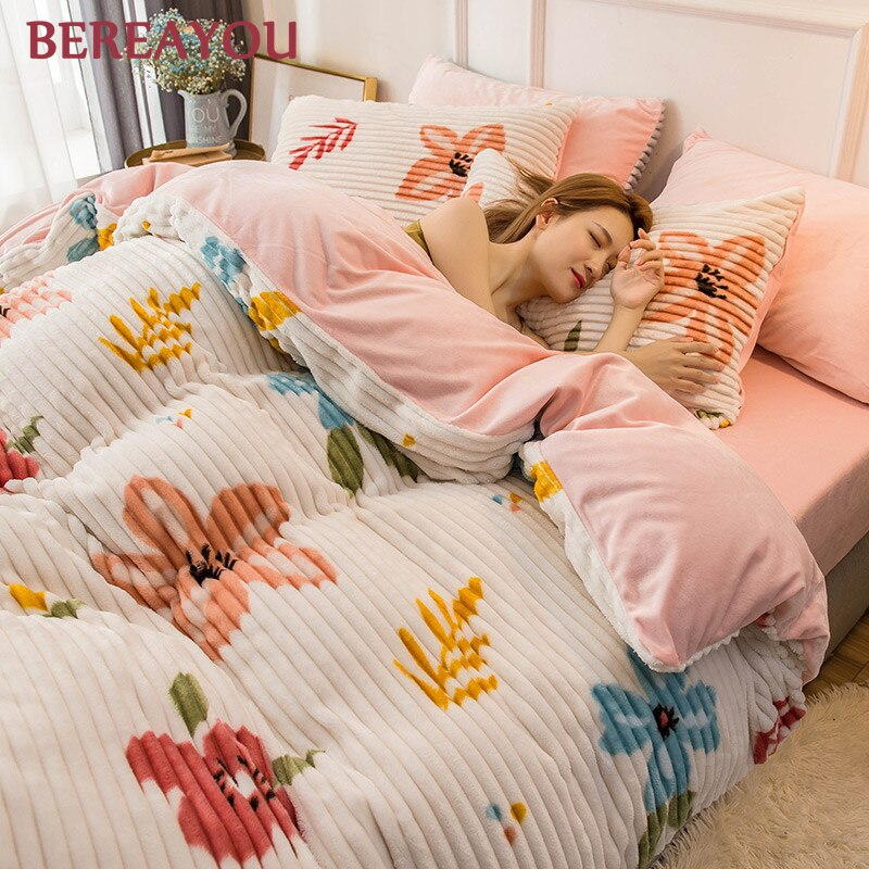Luxury Bedding Sets Flannel Winter Thick Warm Comforter For Girls room Princess Duvet Cover Queen Size Bed Linen Wedding Bed Set