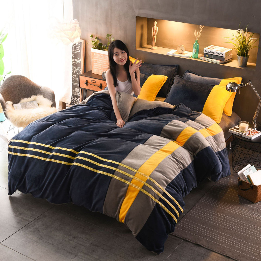 Velvet Flannel Soft Warm Duvet Cover Set Stitching color fashion Queen King size 4Pcs Bedding Set with Fitted/Flat Bed sheets