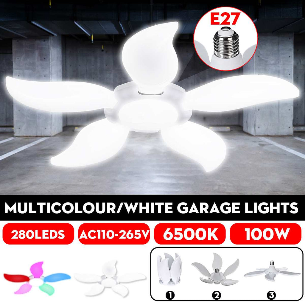 100W 280LED Five-leaf Folding LED Bulb Fan Blade Multicolour/White LED Garage Lights Deformable Ceiling Workshop Lamp