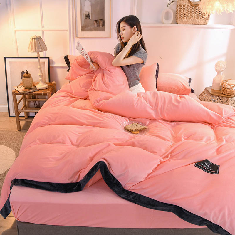 4pcs/set Velvet Bedding Set Solid Colors Duvet Cover Pillowcase Thicken Bed Sheet Quilt Cover for 1.5M/1.8M/2M Bed