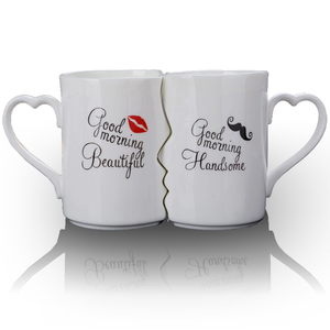 Kissing His and Her Porcelain Coffee Mug 2 PC Set