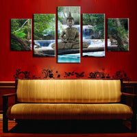 Wall Canvas Painting Large Mural Buddha Painting Artwork for Home Shop Bar Door Decor 5PCS