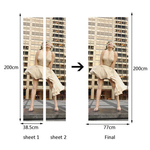 Wall Door Sticker Self Adhesive Peel & Stick Wrap Mural for Home Shop Bar Decor Marilyn Monroe 2 PCS