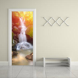 Wall Door Sticker Self Adhesive Peel & Stick Wrap Mural for Home Shop Bar Decor Waterfall 2 PCS