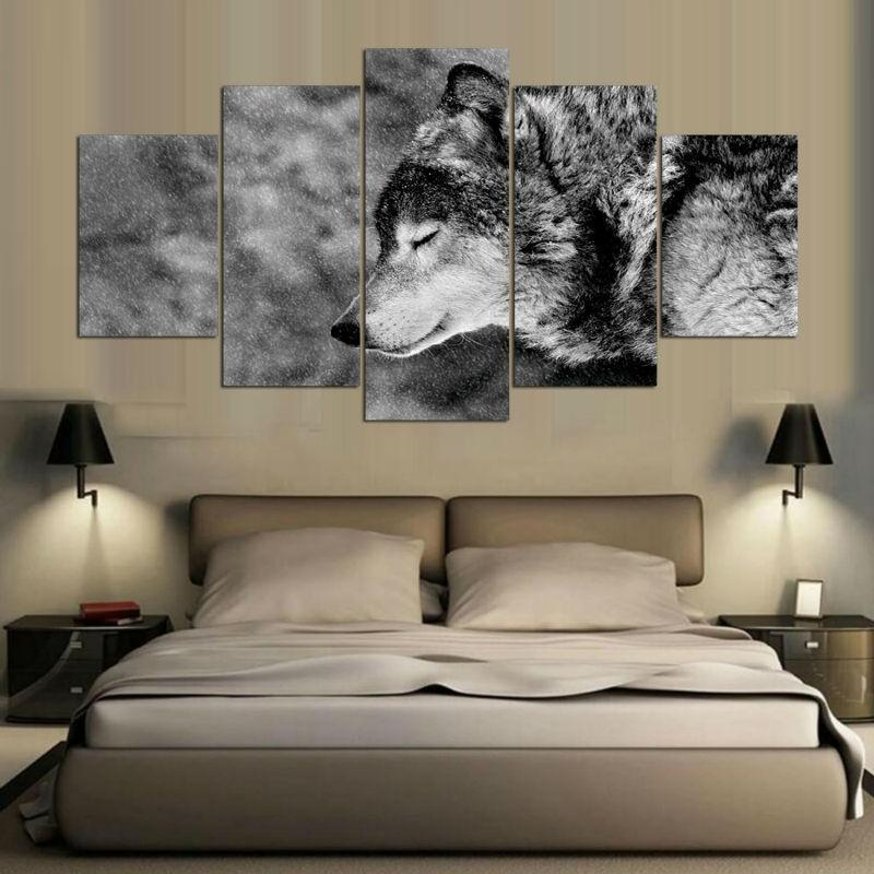 Wall Canvas Painting Large Mural Wolf Pattern Modern Painting Artwork for Home Shop Bar Decor 5PCS