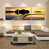 Wall Canvas Painting Wall Large Contemporary Nature Dusk Artwork for Home Shop Bar Door Decor 3 PCS