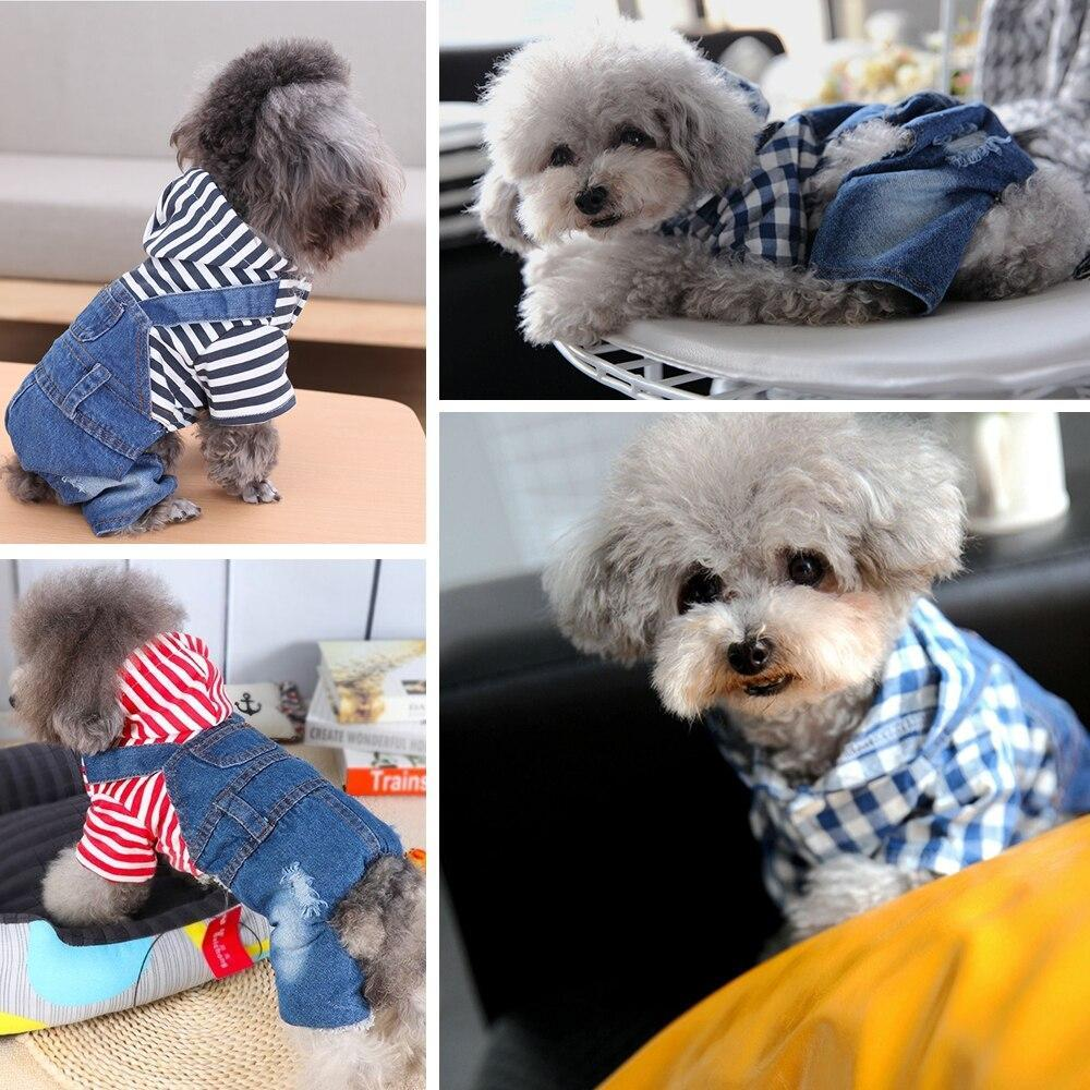 Fashion Stripes Pattern Dog Denim Jacket Pet Hoodied Clothes for Chihuahua Teddy Dogs