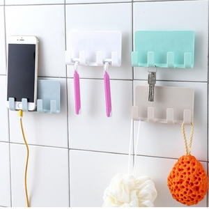 Creative Adhesive Wall Phone Charging Holder Key Holder with 4 Hooks Sundries Storage Hanger