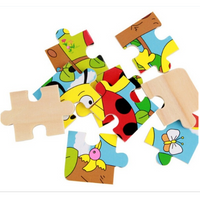 Kindergarten Wooden 9 Pieces of Puzzle Transport Animals Makeup Educational Toys