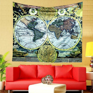 World Map Hanging Tapestry Multifunctional Blanket Beach Towel Home Decor