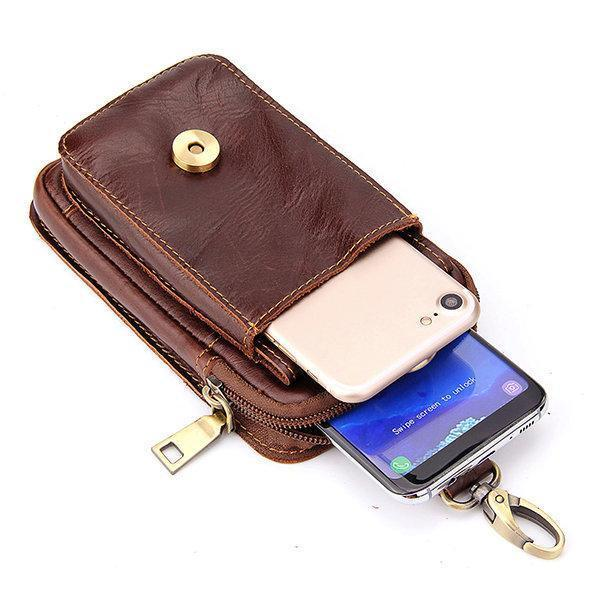 【Free Shipping】Leather Wallet Phone Camera 6 Inch Waist Bag