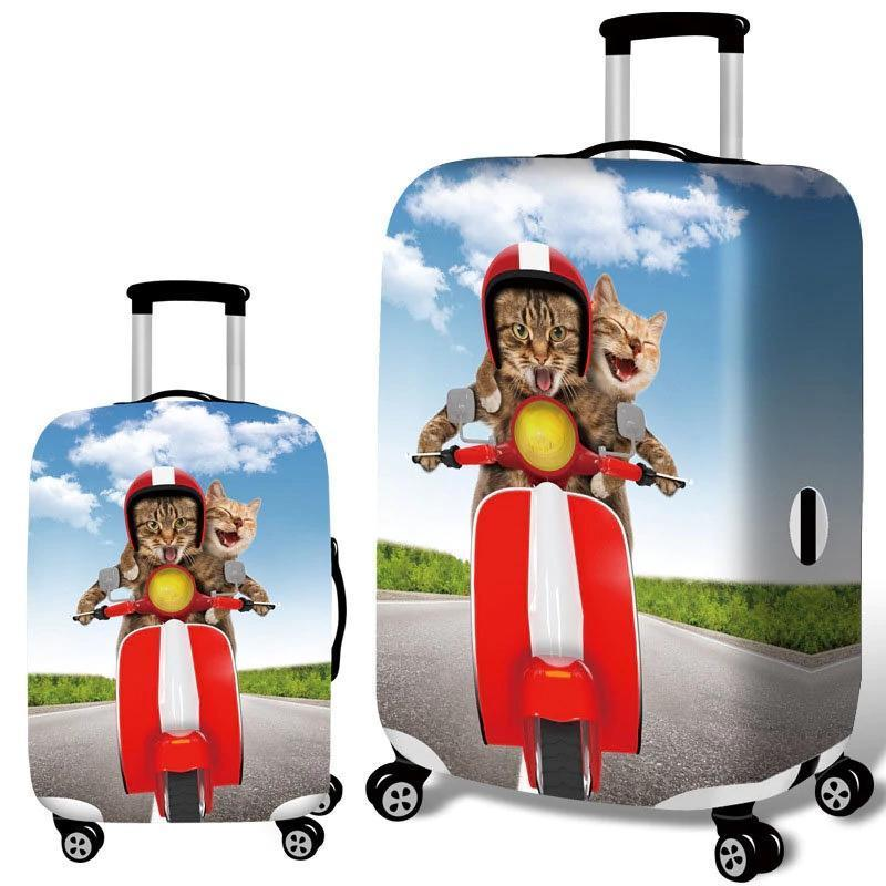 3D Spoof Cat Elastic Luggage Cover Travel Suitcase Protector