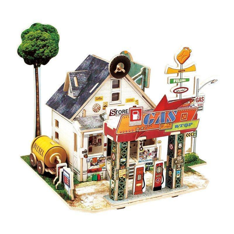 3D Wood House Puzzle New Year Gift DIY Model Toys Romantic French Style Hand Made Toy