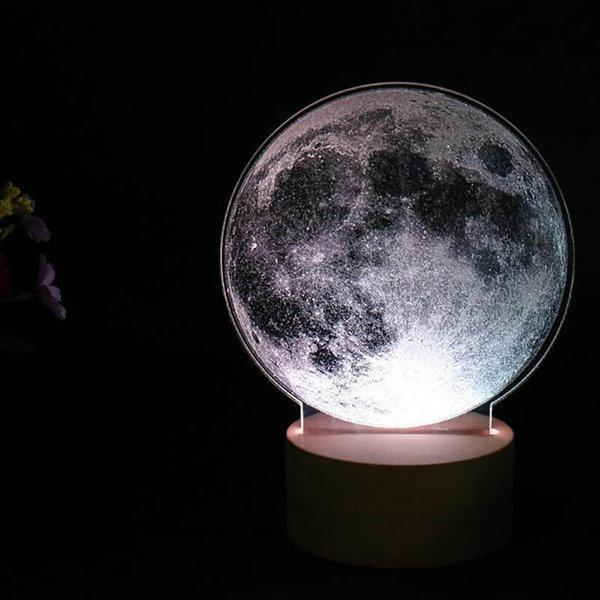 3D Night Light LED Desk Table Lamp Gift Bedroom Home Decor Moon Saturn Light