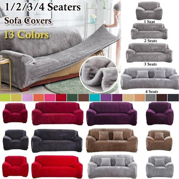 1-4 Seaters Thick Plush Recliner Sofa Covers Retro Recliner Sofa Cover Soft Couch Slipcovers