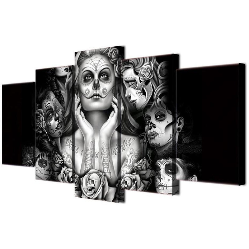 Day of the Dead Face PAINT FRAMED WALL CANVAS - Skullflow