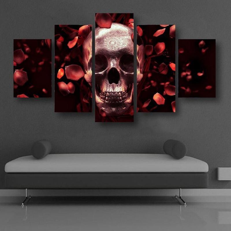 5 Panels Rose Skull Printed Canvas Wall Art - Skullflow