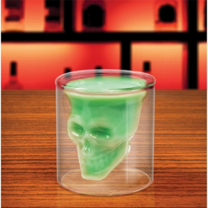 Skull Shot Glass Crystal Glasses Double Layer Transparent Skull Pirate Glass Drink Cocktail Beer Cup