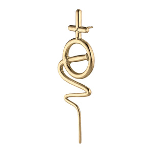 Venus Stick Earring Large - Gold Plated Silver
