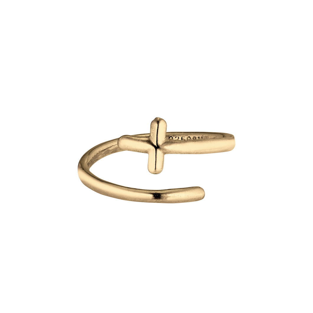 Twirl Ring Cross - Gold Plated Silver
