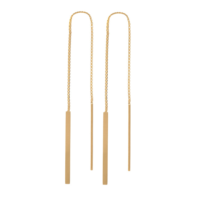 Baton Earring - Gold Plated Silver