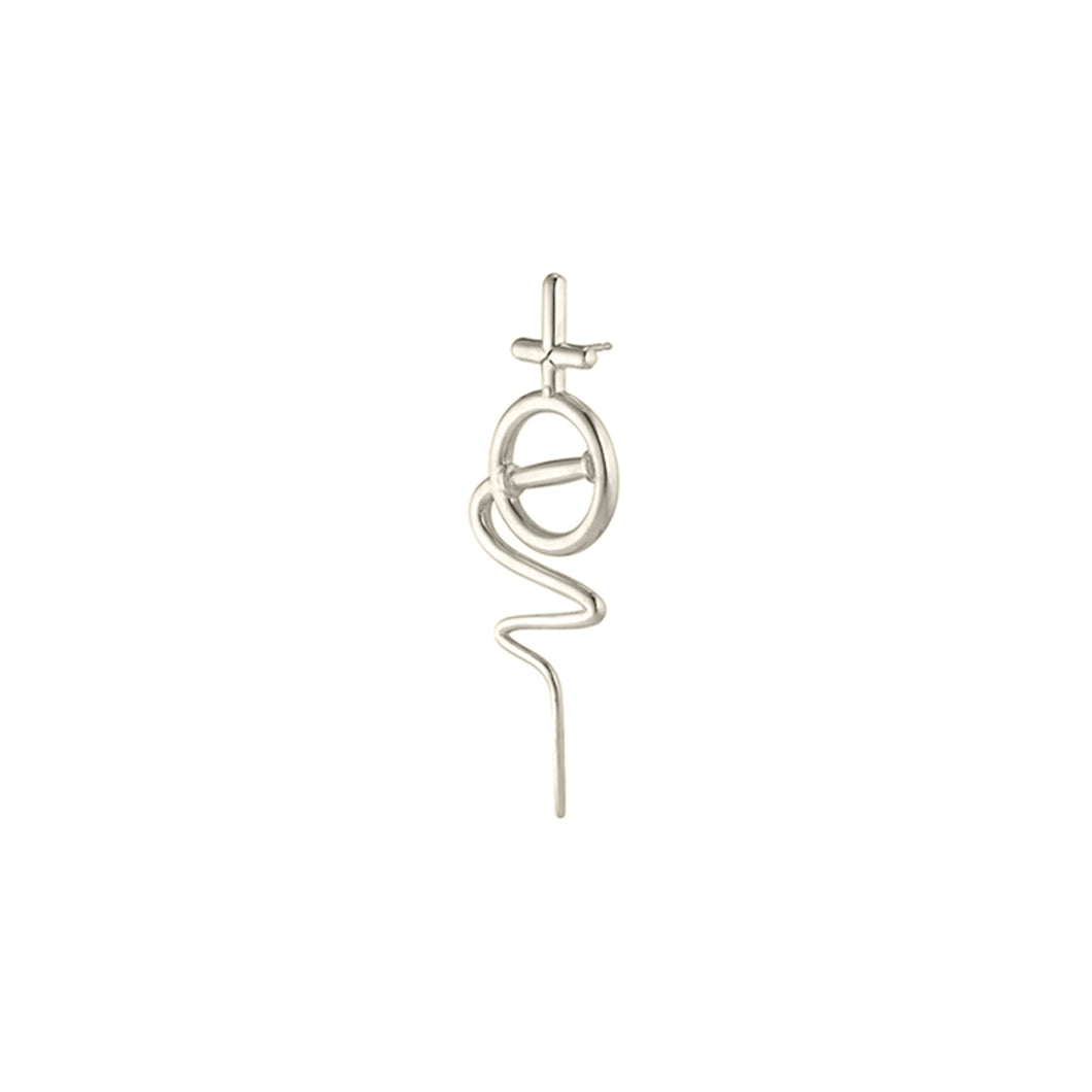 Venus Stick Earring Small - White Gold
