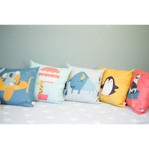 Adventure Animals Home Decor Cushion Covers for Baby Nursery, Children's Room, Toddler Bedroom, Reading Corner, Reading Nook or Kids Playroom