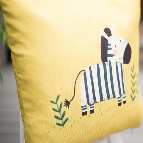 Zora Zebra Yellow Home Cushion Cover for Baby Nursery, Children's Room or Playroom Interiors