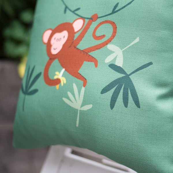 Monkey Green Home Cushion Cover Décor for Baby Nursery, Children's Room and Playroom Decor