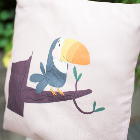 Tilly Toucan Soft Stone Home Cushion Cover for Baby Nursery, Children's Bedrooms or Playroom Décor