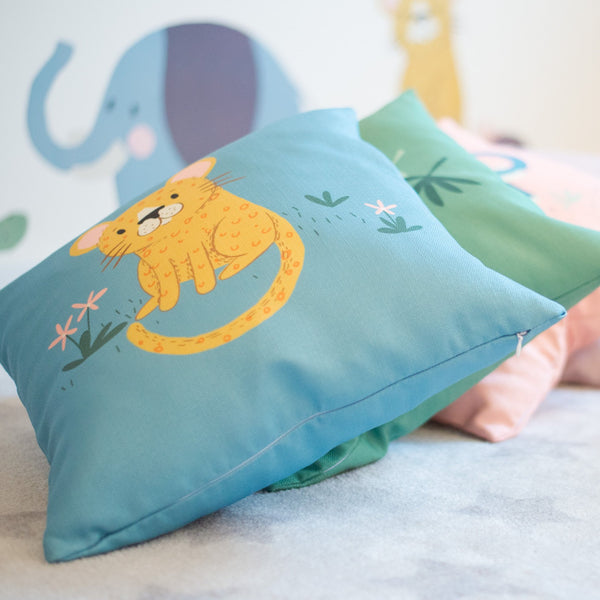Leo Leopard Blue Home Cushion Cover for Baby Nursery, Children's Room or Playroom Décor