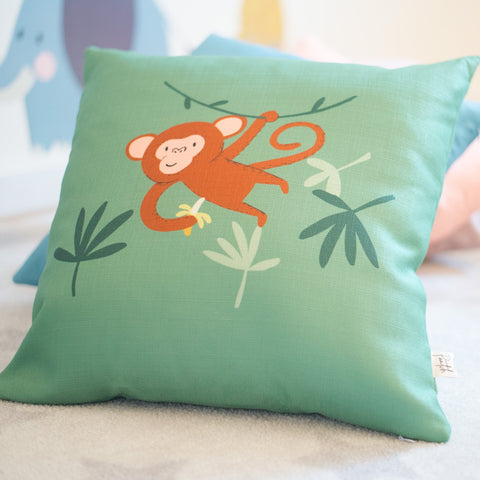 Products Mikey Monkey Green Home Cushion Cover for Baby Nursery, Children's Room or Playroom Décor
