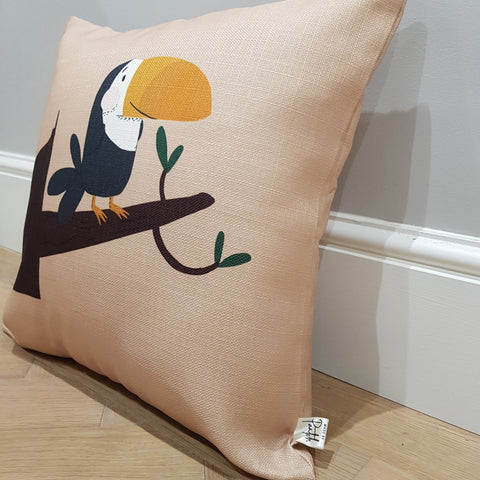 Tilly Toucan 2 Beige Home Cushion Cover for Baby Nursery, Children's Bedrooms or Playroom Décor
