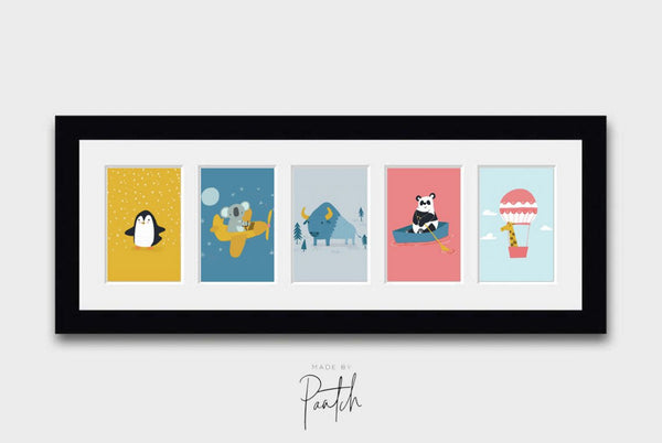 Adventure Nursery Animals Prints Wall Art Décor Set for Kids Bedroom or Playroom Interiors