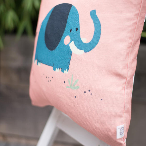 cotton cushion cover blue elephant on pink background
