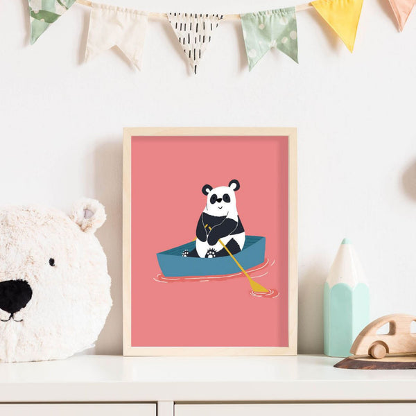Panda - Adventure Nursery Animals Prints Wall Art Décor Set for Kids Bedroom or Playroom Interiors