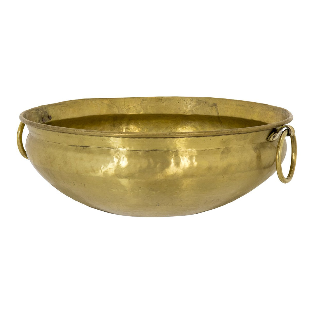 Large Brass Bowl with Handles