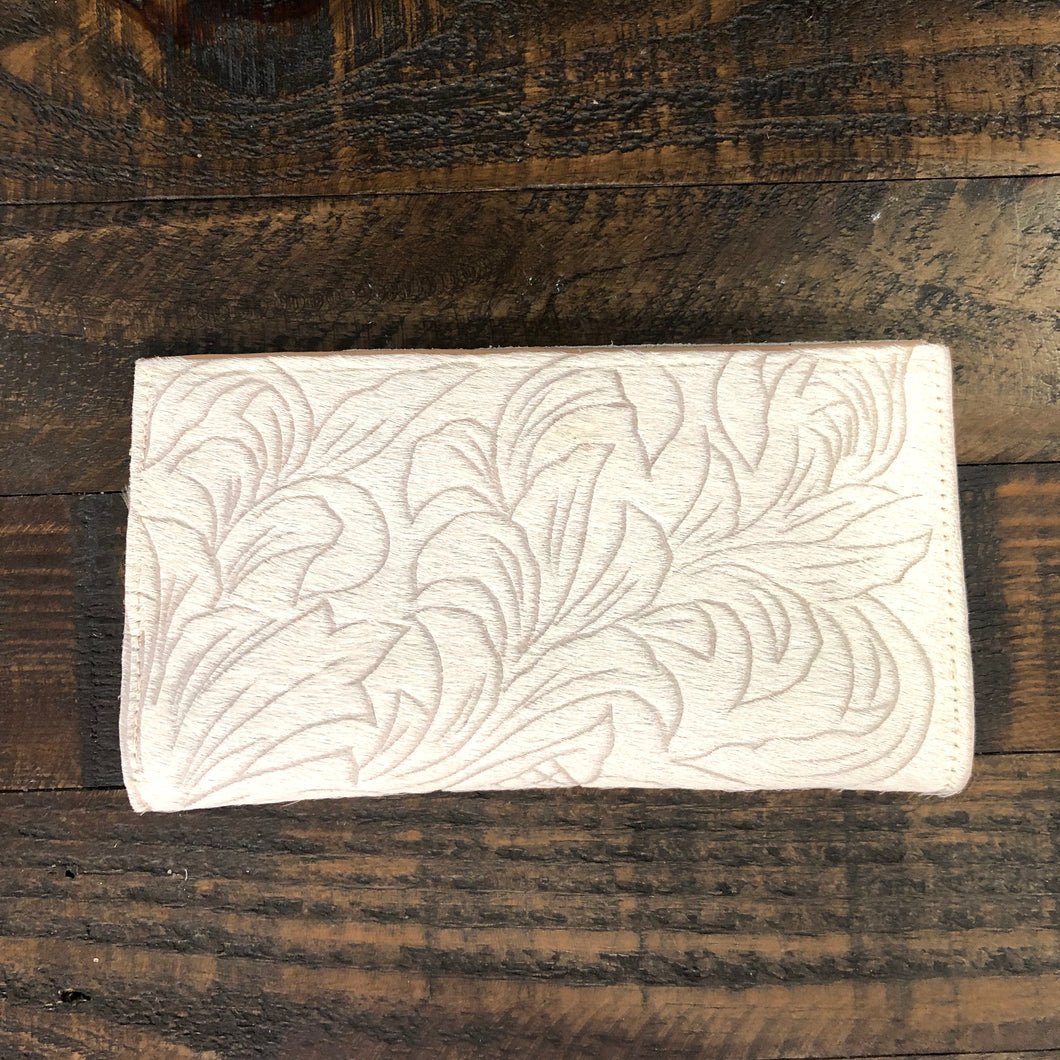Hide Carved Leaf Wallet